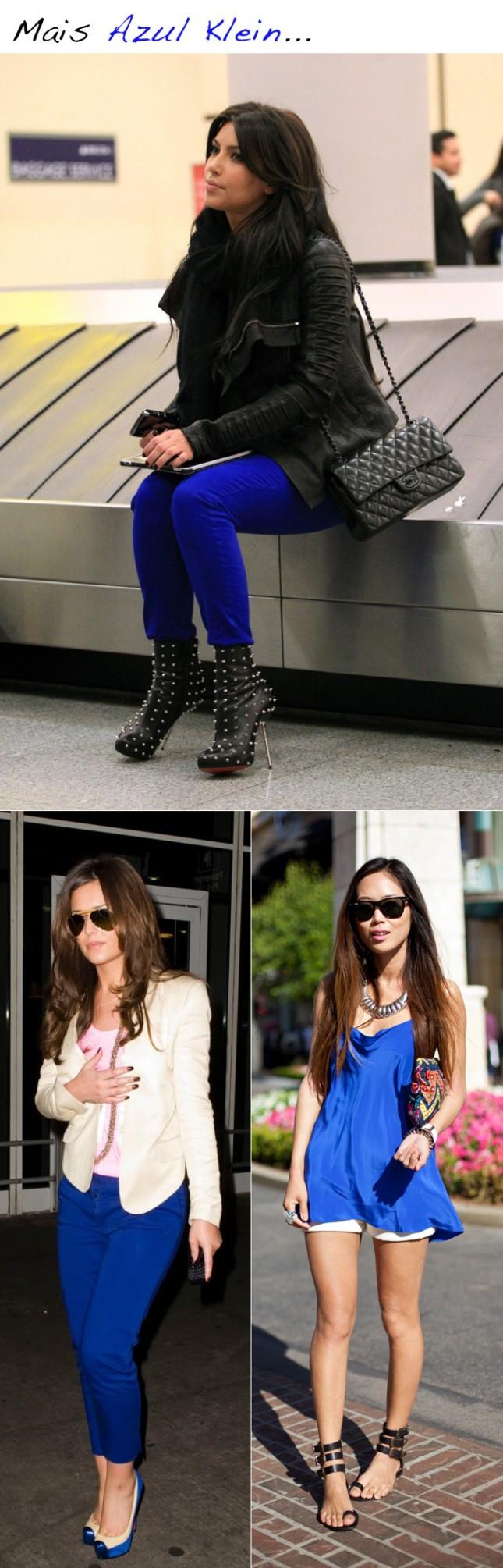 Look Calça Azul Klein Kim Kardashian