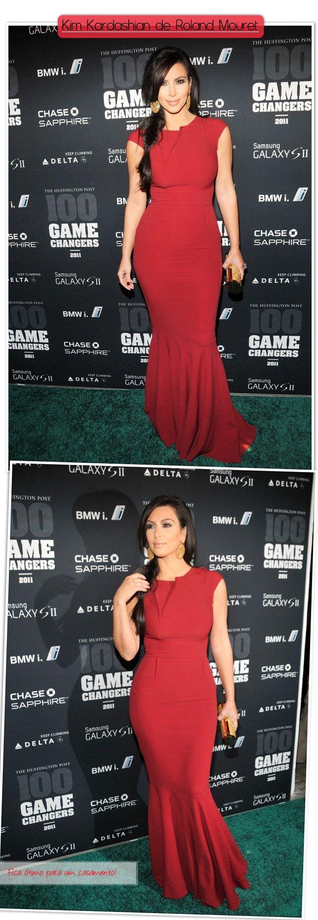 Kim Kardashian de Vestido Vermelho Roland Mouret Look Celebridade