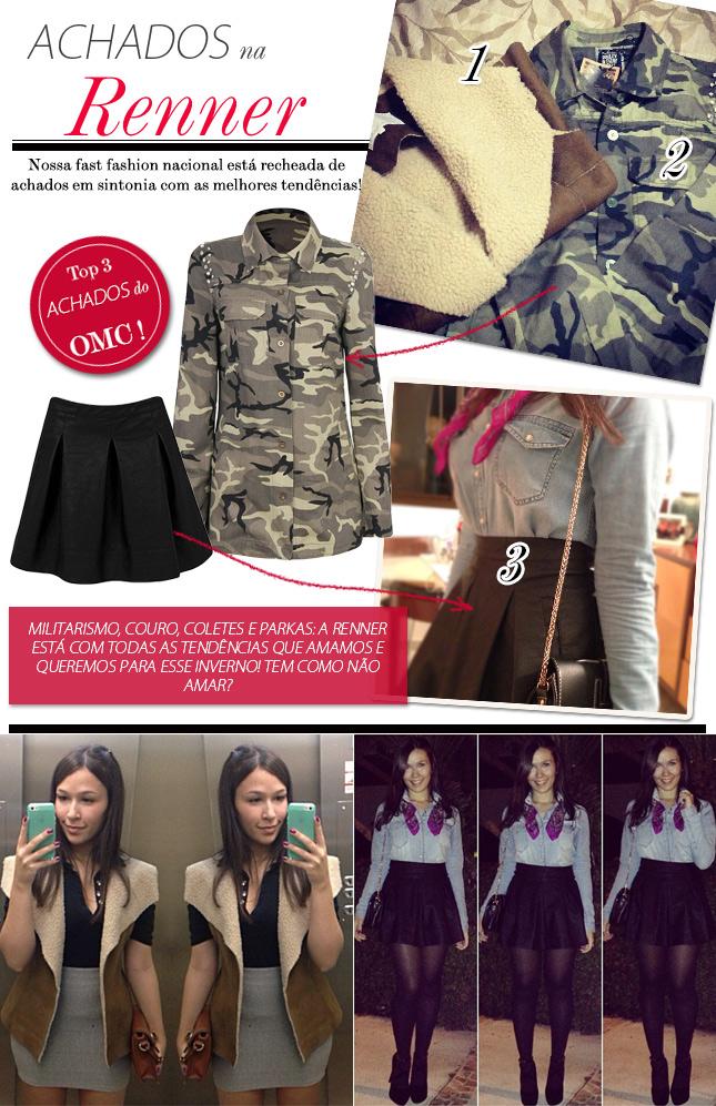 achados na renner blog de moda oh my closet monica araujo dica colete parka militar saia de couro comprar