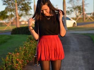look do dia saia vermelha k7 sammy dress parfois patricinhas online blog de moda oh my closet