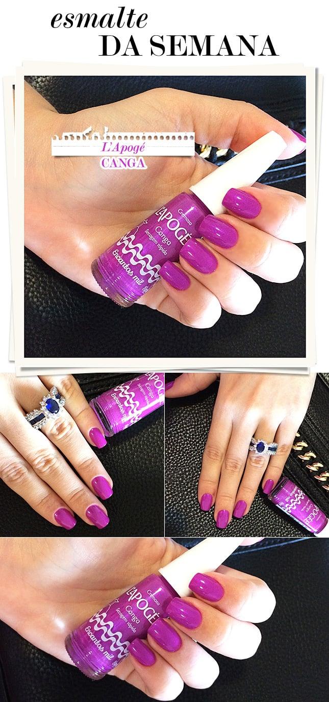 lápoge canga esmaalte da semana blog de moda oh my closet blogueira monica araujo esmalte lilas roxo magenta cintilante dica esmalte