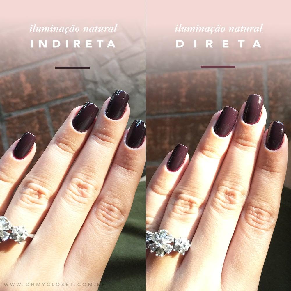 Veja como o Vinho I Love You, um esmalte escuro da Risqué fica nas mãos da blogger Mônica Araújo!