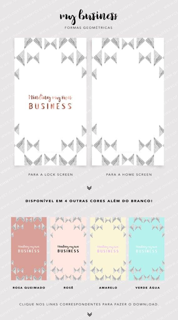 Wallpaper para iPhone Minding my own Business. Papel de parede moderno de formas geométricas, com design de Mônica Araújo. Baixe grátis no Oh My Closet!