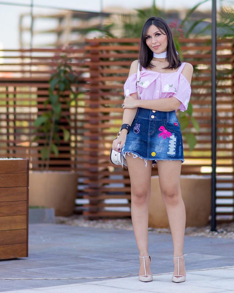 Look Mônica Araújo para S Trend: saia com patches e blusa ciganinha no verão do Oh My Closet!