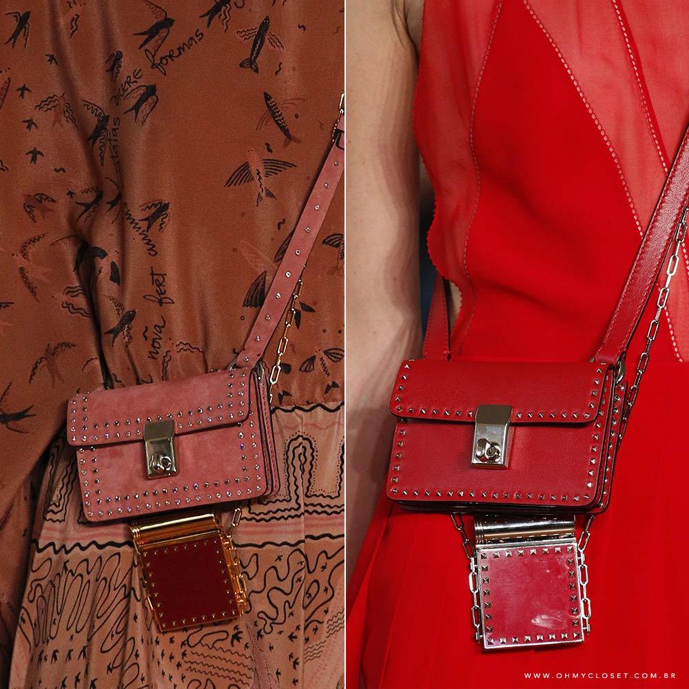 Detalhe micro bags Valentino PFW tendência bolsas Oh My Closet, por Mônica Araújo.