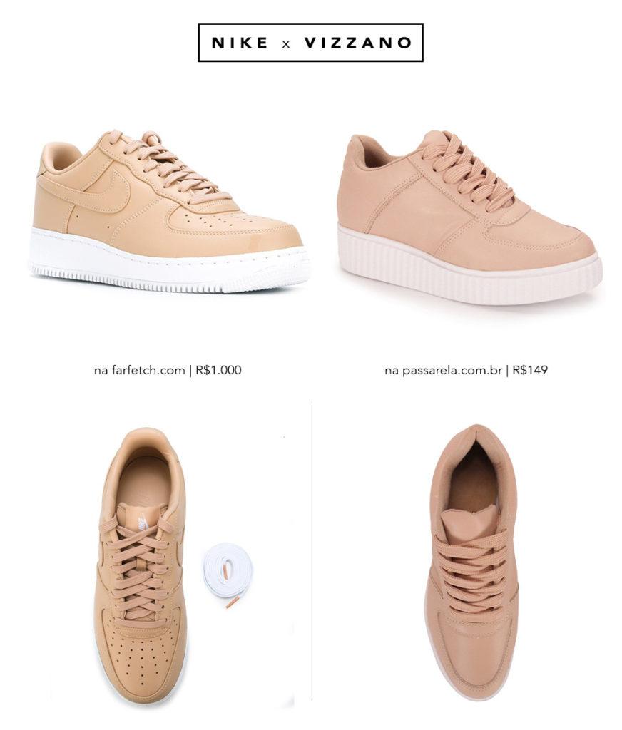Comparação do Nike Air Force 1 com o tênis da Vizzano na Passarela. Veja no Oh My Closet onde comprar.