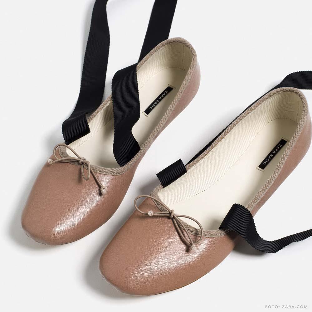 Sapatilha da Zara com fita de cetim para dar laço - Ballet Flats