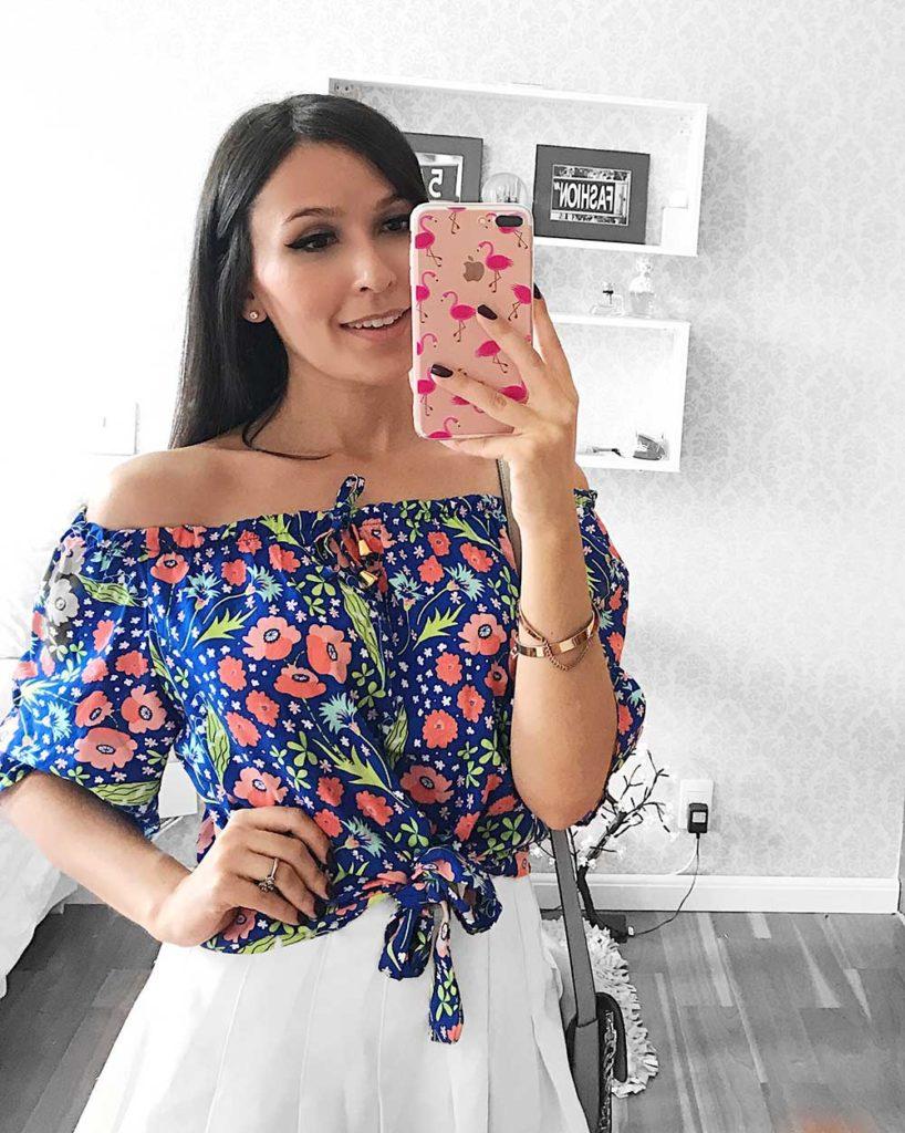 Blusa Azul Florida Ypslon Atacado