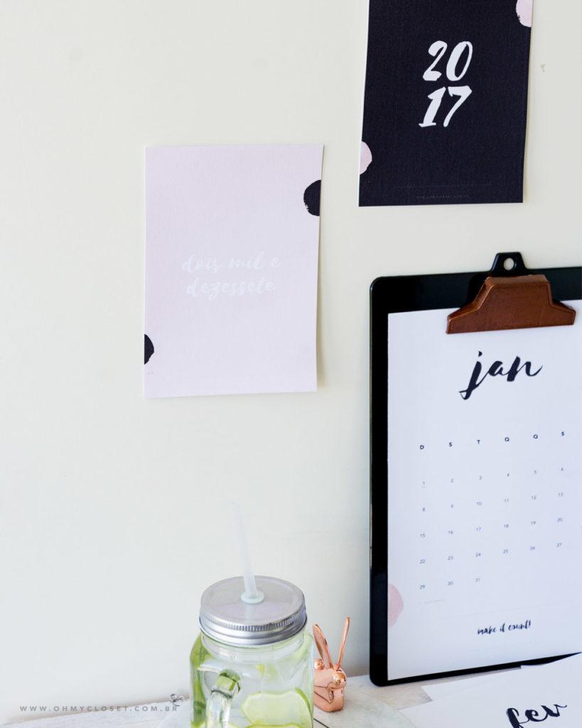 Calendário 2017 printable Oh My Closet freebie da semana design idea.