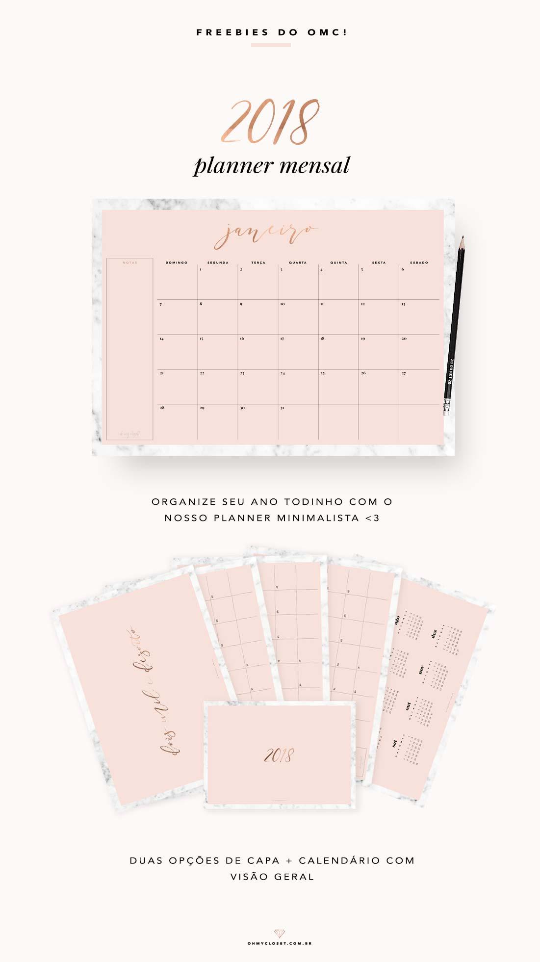 Planner mensal para baixar e imprimir. Freebie do Oh My Closet! com design minimalista em mármore e rosa blush.
