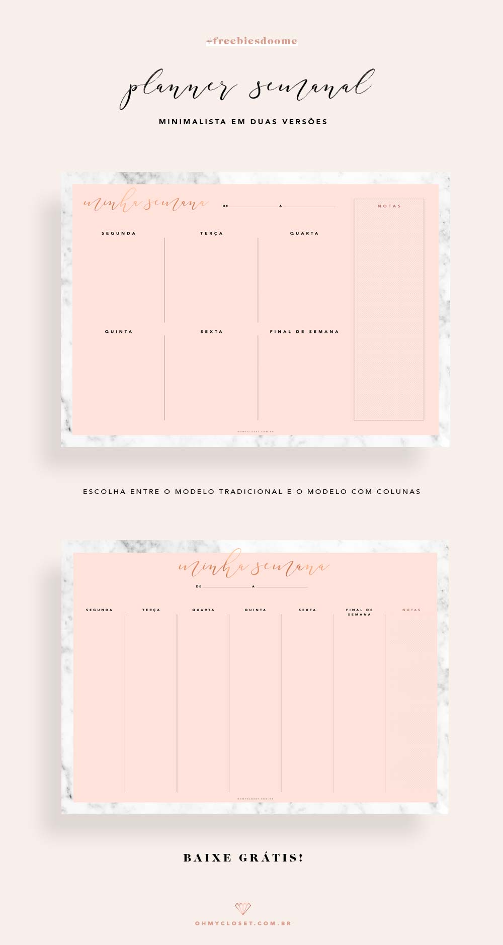 Planner semanal minimalista 2018 rosa e mármore grátis para imprimir.