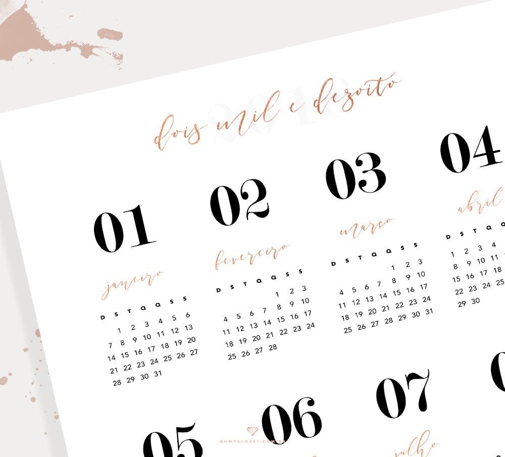 Detalhes do calendário 2018 com visão geral dos 12 meses grátis para baixar.