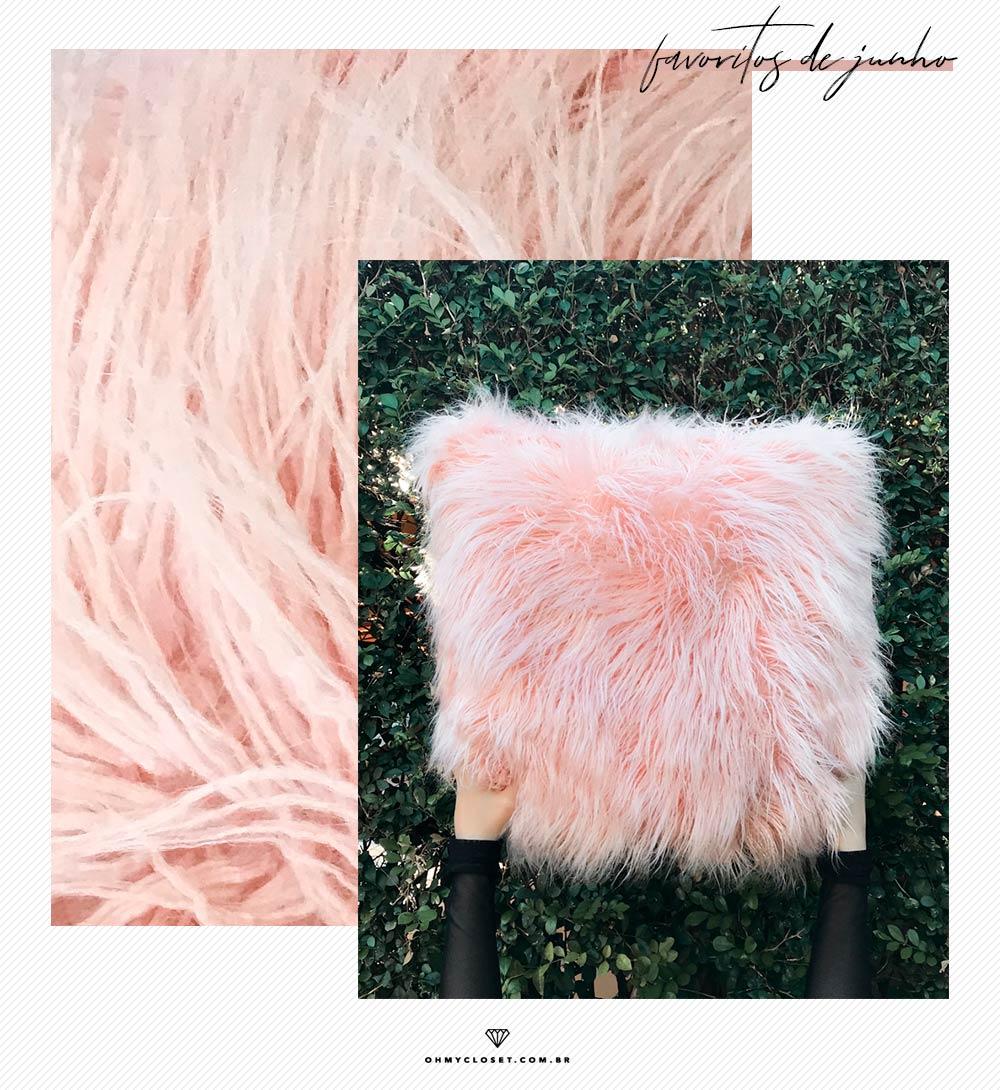 Review de almofada de pelo do Ali Express no rosa blush.
