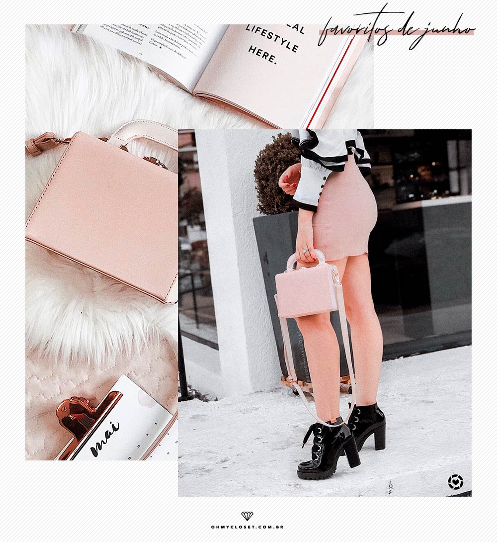 Review de bolsa maleta box bag da Renner, rosa blush.