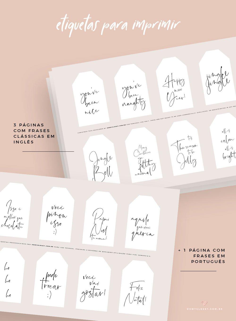 Freebie: etiquetas de Natal para imprimir grátis.
