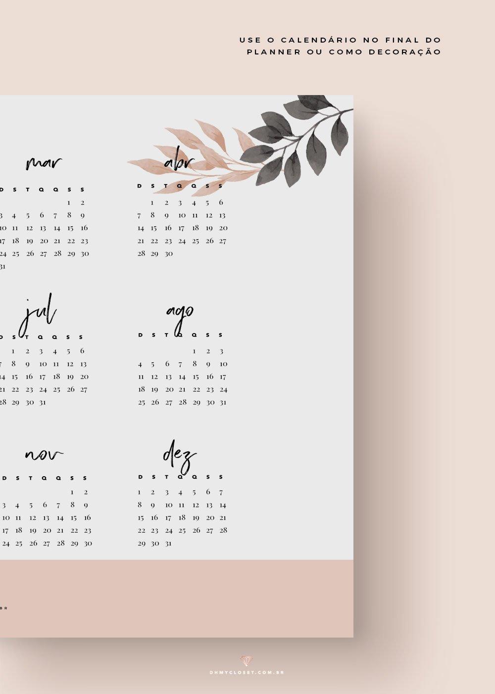 Planner mensal 2019 minimalista com calendário 12 meses grátis para baixar e imprimir. por Oh My Closet!
