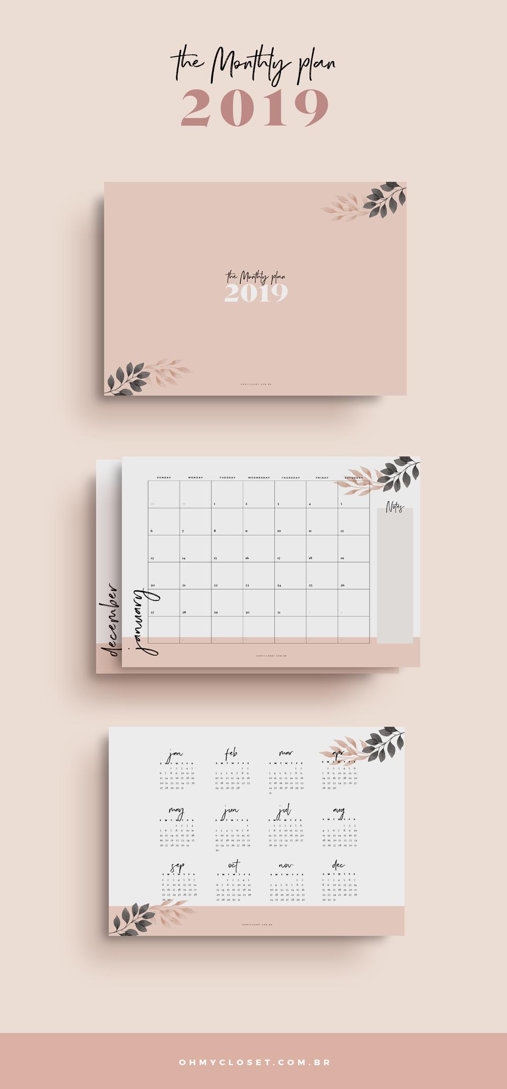 Planner Mensal 2019 do Oh My Closet grátis para baixar e imprimir.