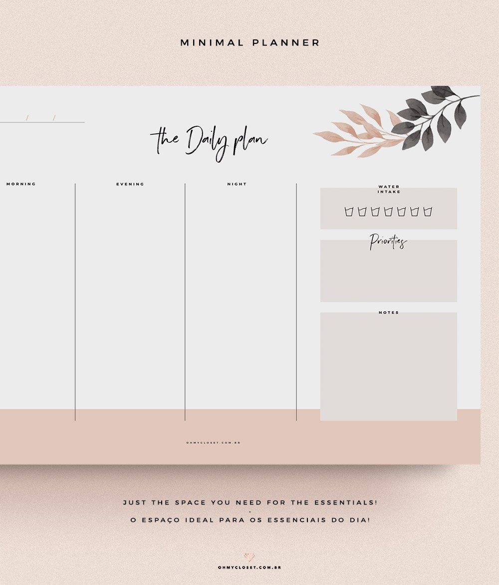 Detalhes do planner minimalista do Oh My Closet, grátis para baixar.