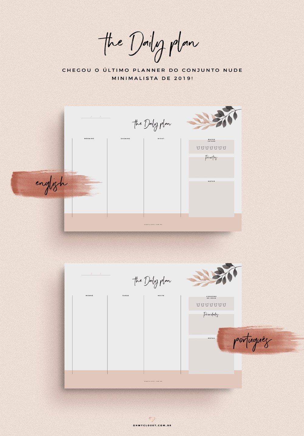 Planner diário grátis para download no Oh My Closet!