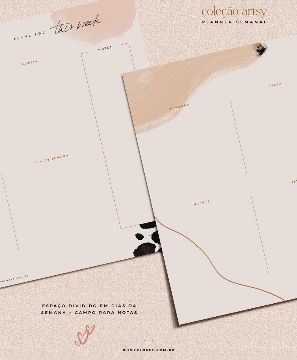 Detalhes do planner semanal do Oh My Closet!, por Mônica Almeida.