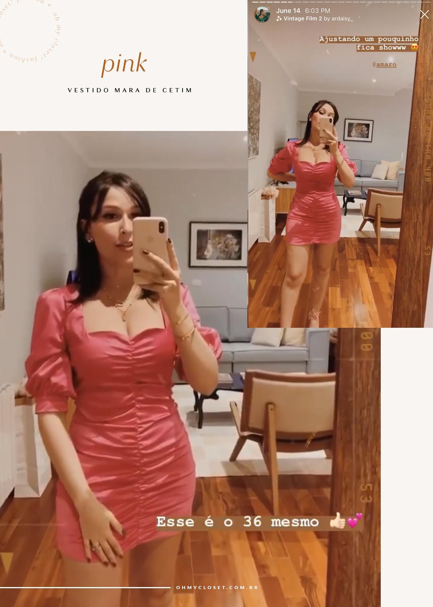 Vestido pink de cetim e mangas bufantes da Amaro.