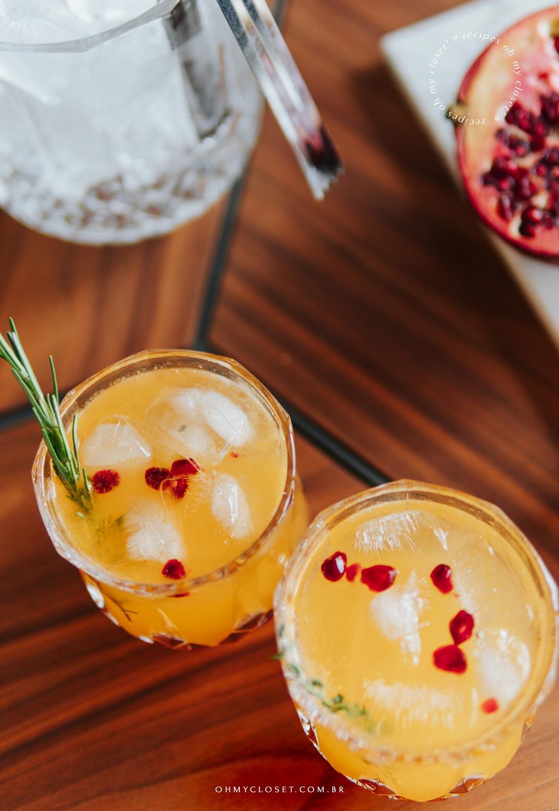 Drink para reveillon. Tangerina, vodka, limão siciliano e ginger beer.