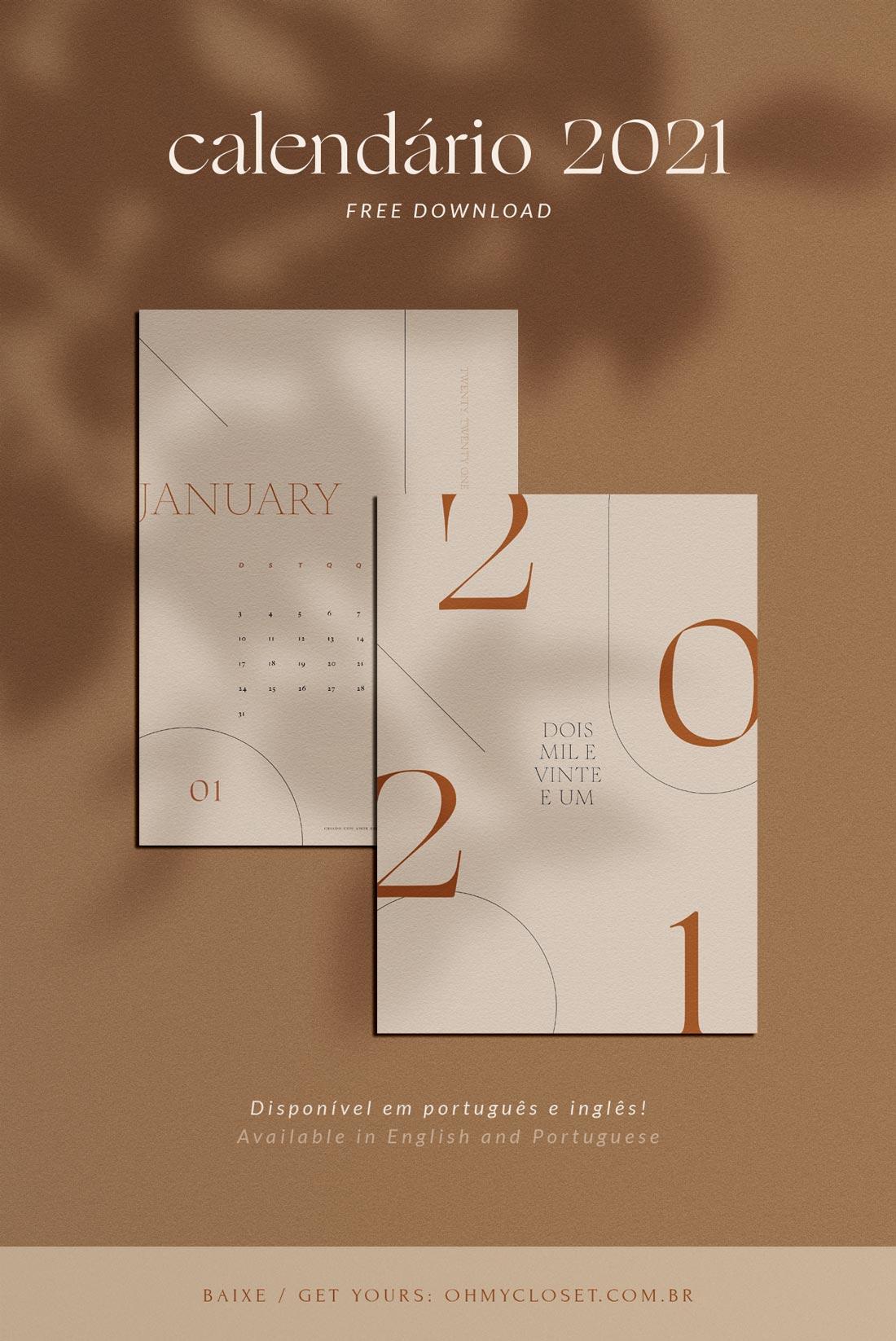 Calendário minimalista 2021 disponível em inglês e português para download grátis