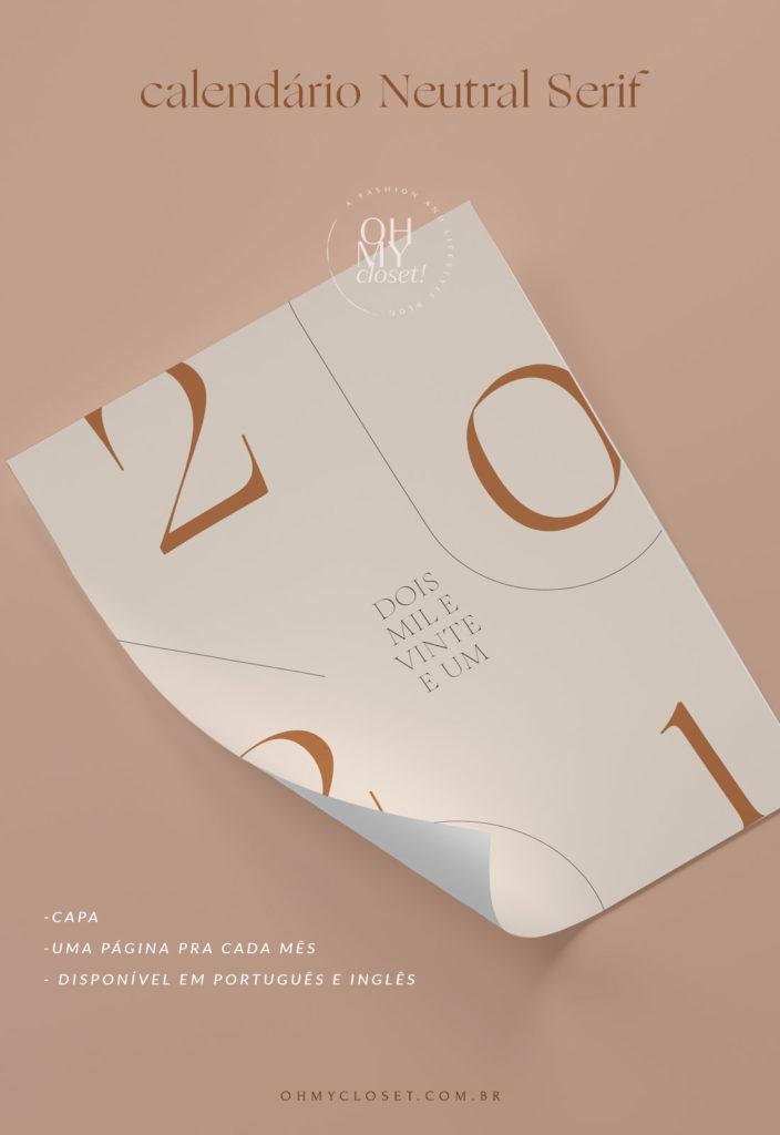 Calendário Neutral Serif 2021 do Oh My Closet