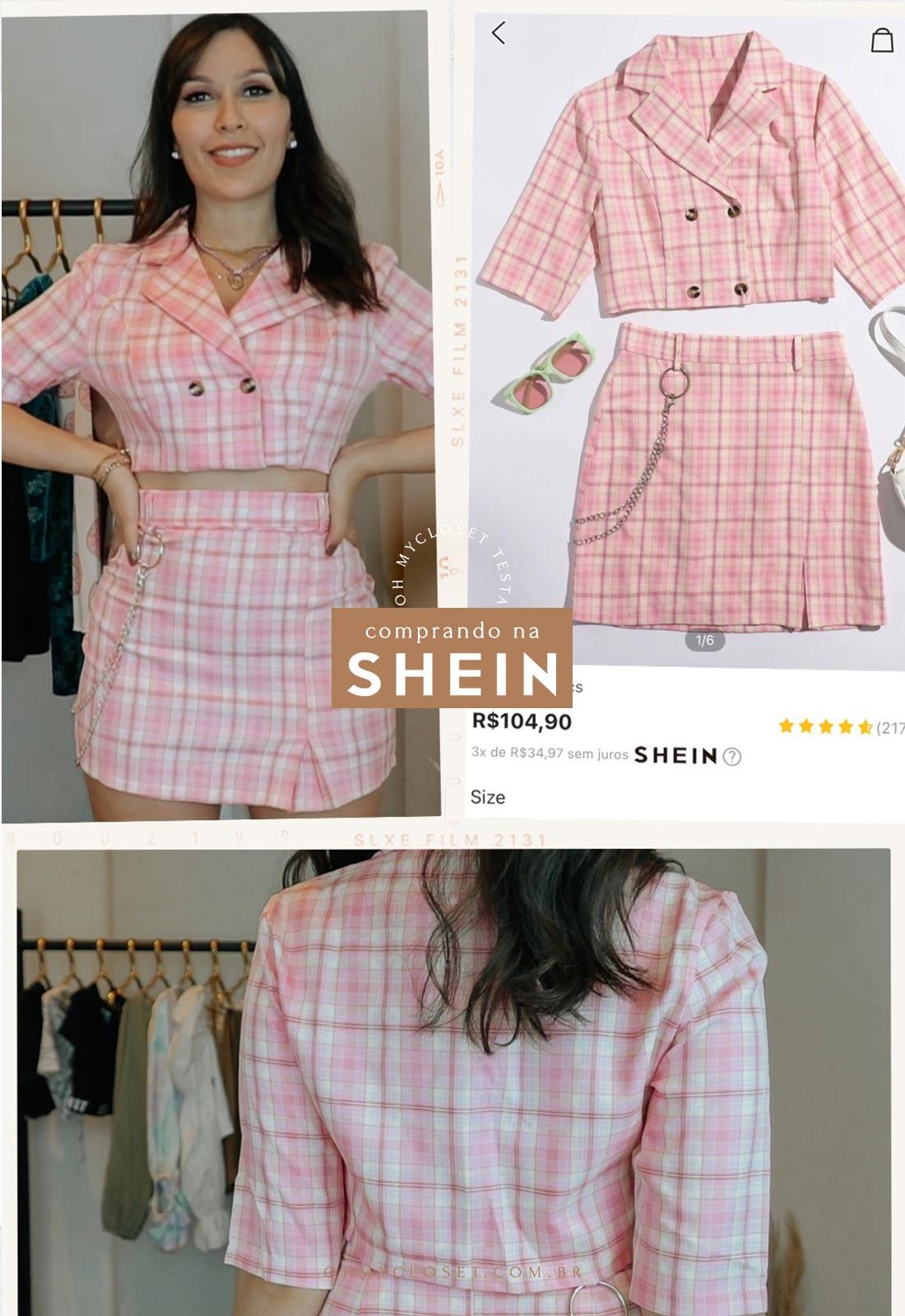 Conjunto xadrez rosa da SHEIN.