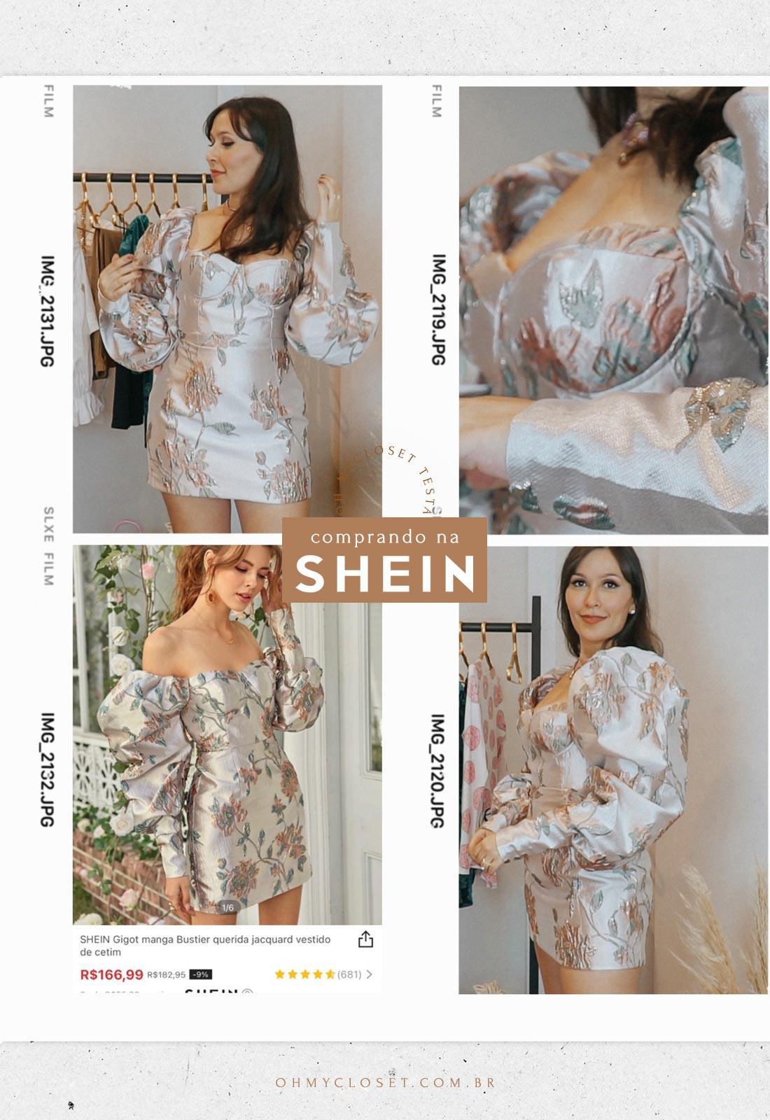 Vestido prata de jacquard também da SHEIN.