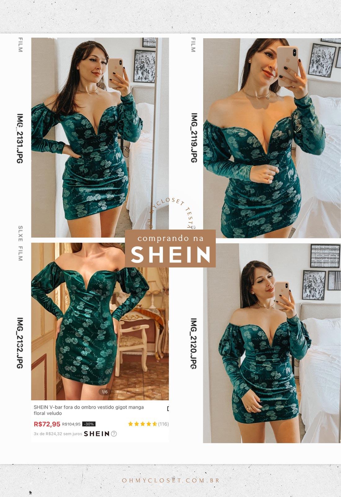 Vestido verde de veludo da SHEIN. Vestidos da SHEIN