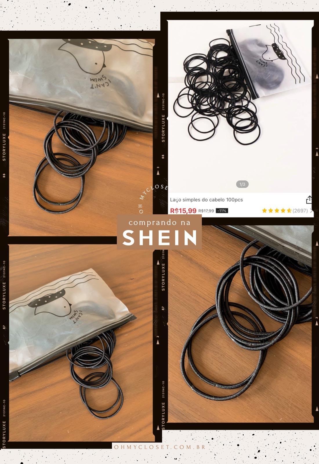 Kit de elásticos para cabelo da SHEIN.