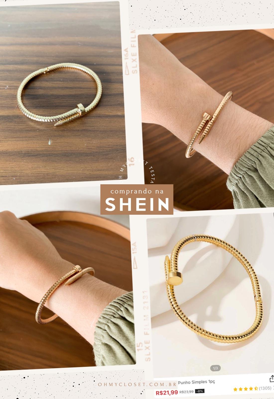 Mais acessórios da SHEIN, pulseiras.