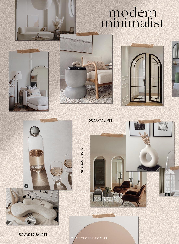 Moodboard com inspirações de design moderno minimalista.
