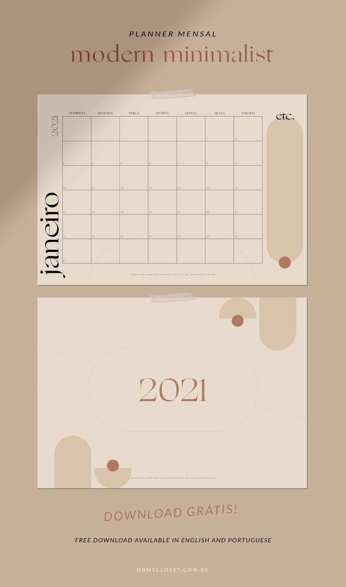 Planner mensal modern minimalist 2021 download grátis.