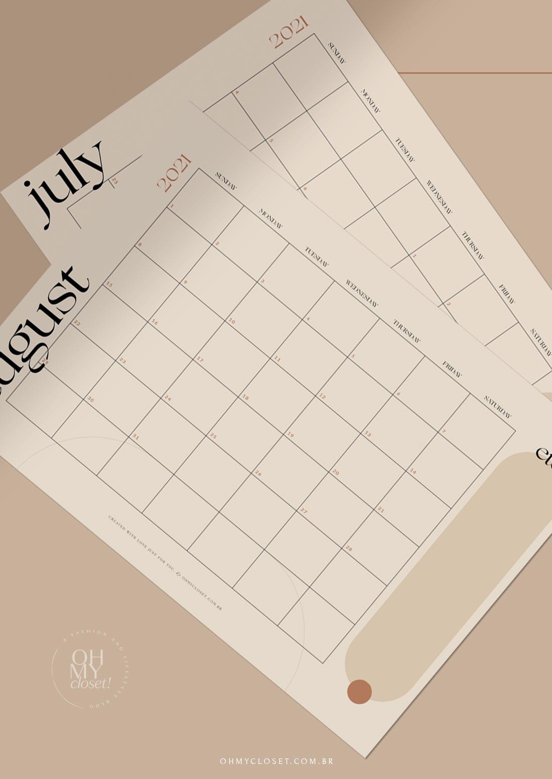 Detalhe do planner modern minimalist em inglês.