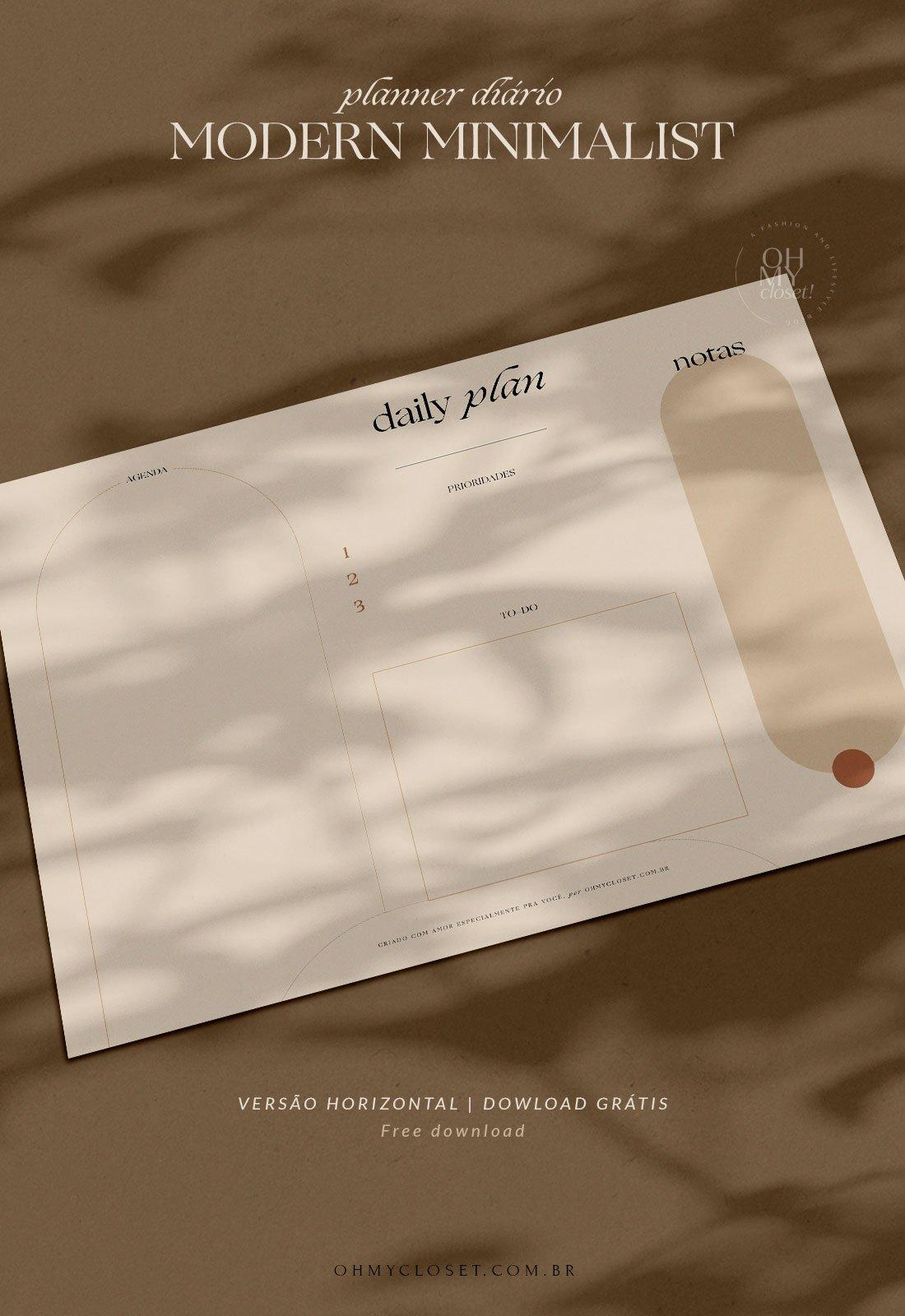 Daily Plan, planner diário moderno e minimalista para download grátis.