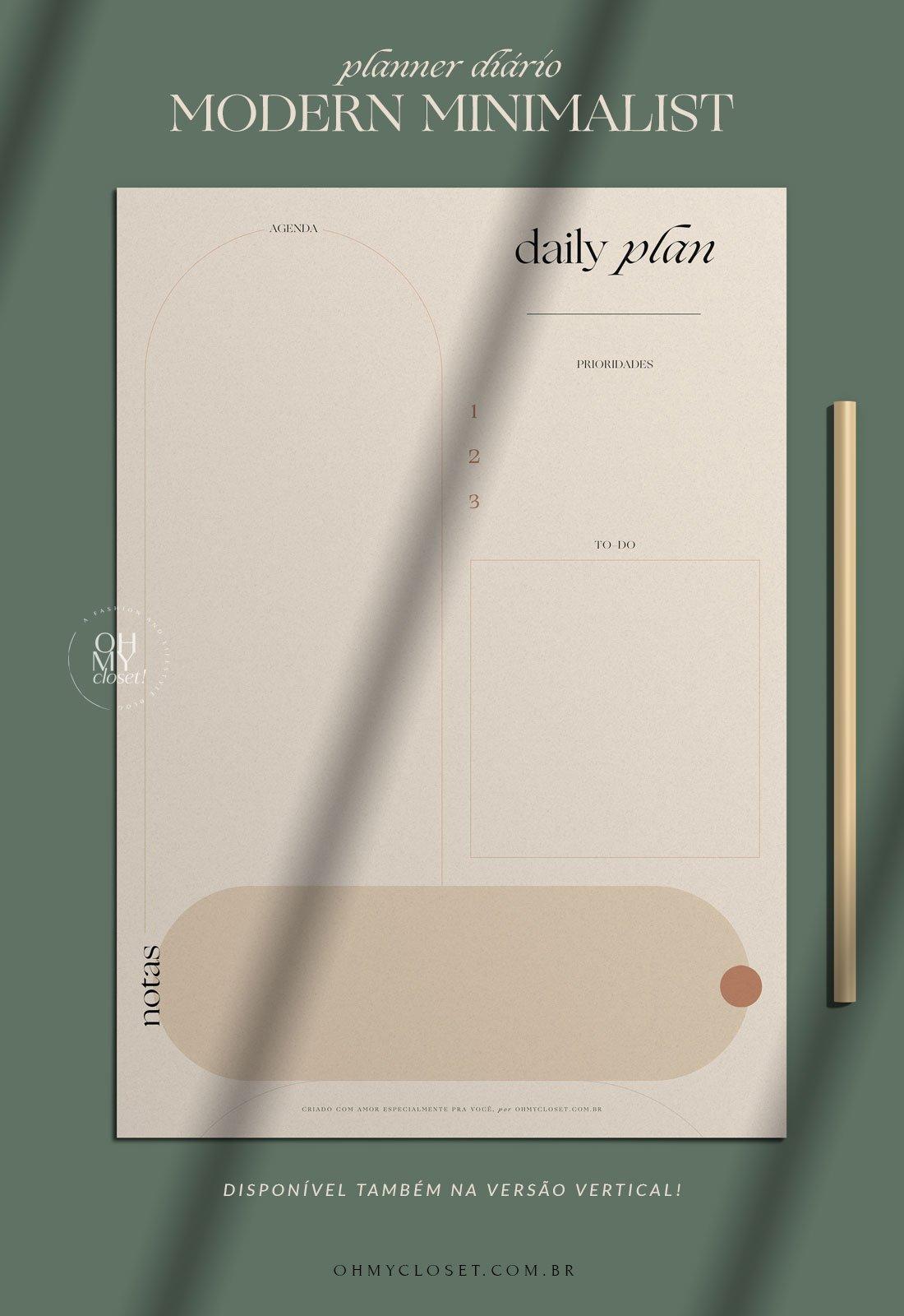 Planner diário em PDF, download grátis para impressão.