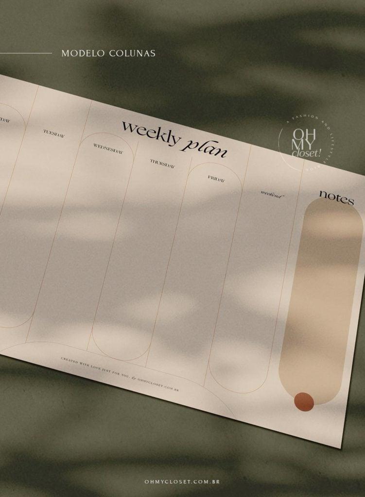 Planner semanal, moderno e minimalista, em colunas para download.