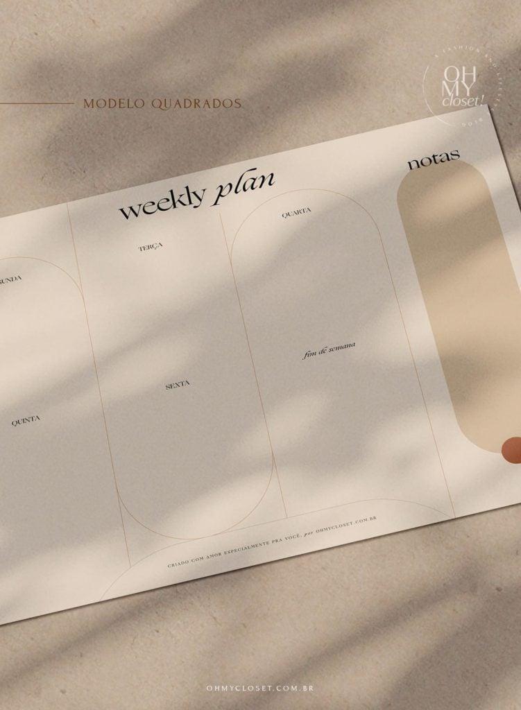 Planner semanal, moderno e minimalista, em quadrados para download.