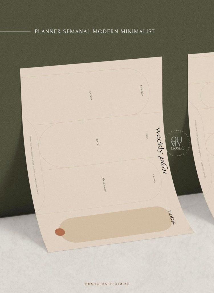 Planner semanal modern minimalist, free download. By Mônica Almeida, Oh My Closet!