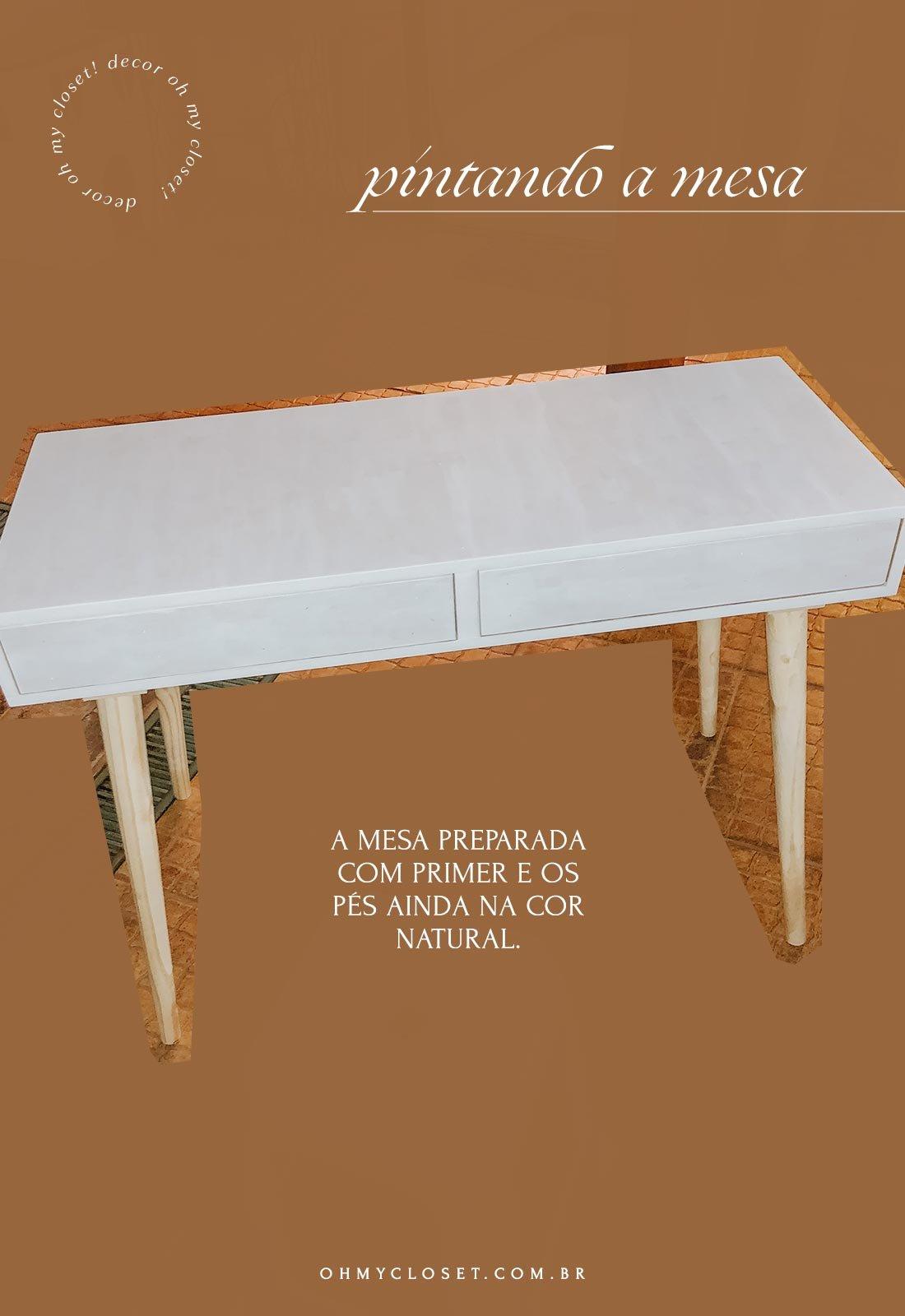 Pintando mesa em MDF para home office de baixo custo.