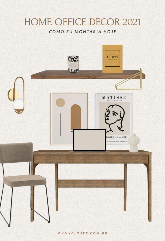 Infográfico como montar um home office gastando pouco, cores neutras madeira crua.