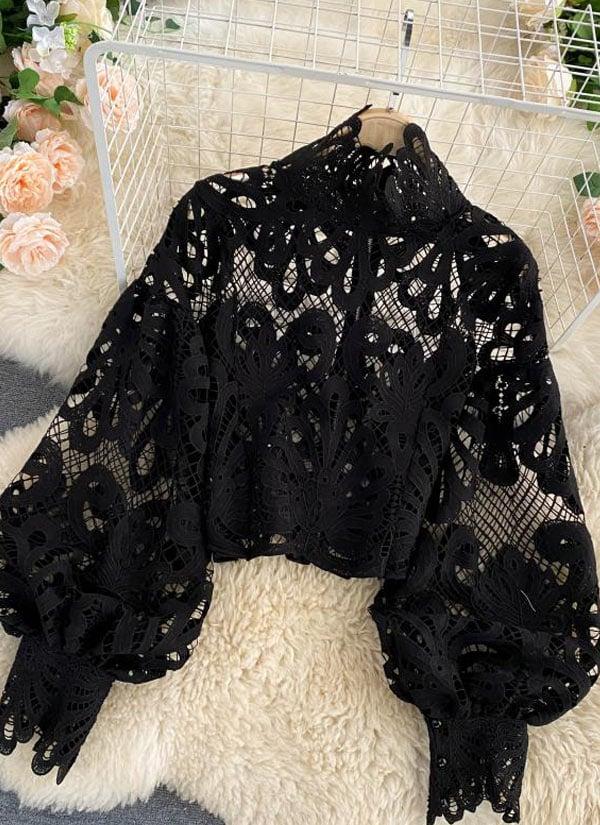 Blusa de Guipir preto com manga bufante. Desconto no aniversário do AliExpress 2021.