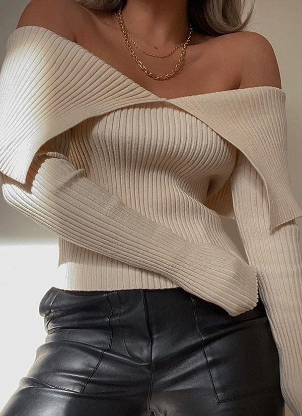 Blusa de tricot ombro a ombro desconto aniversário AliExpress 2021.