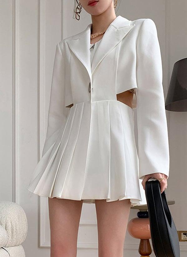 Vestido branco com recortes promoção aniversário AliExpress 2021.