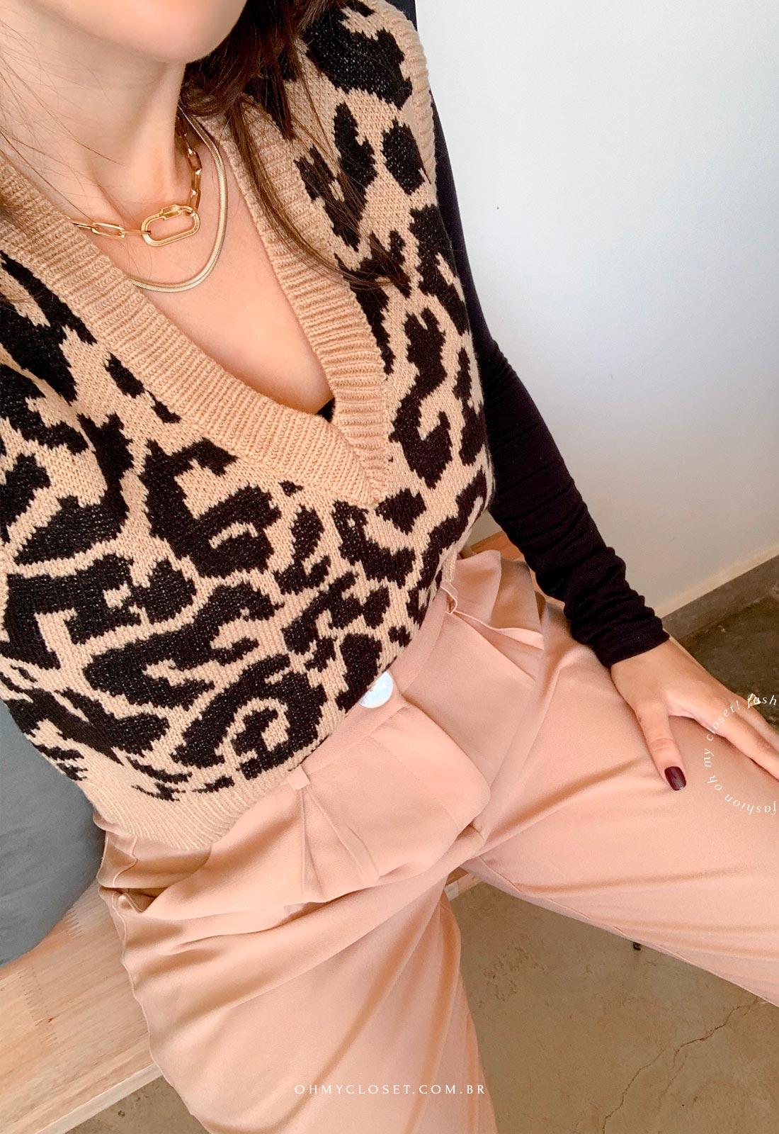 Look com colete de tricot inverno 2021