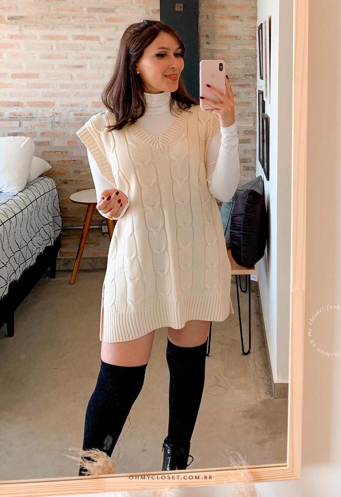 Look maxi colete de tricot tendência inverno