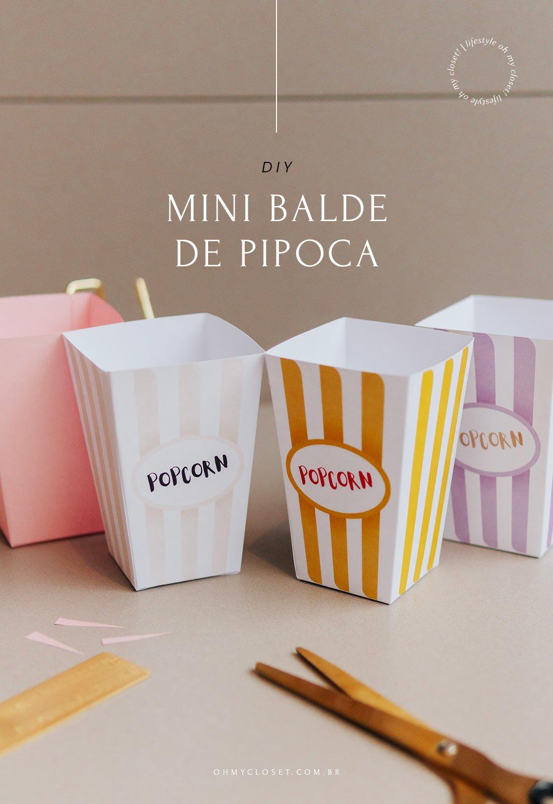 DIY Mini Balde de Pipoca - Freebie Para Impressão - Como Fazer