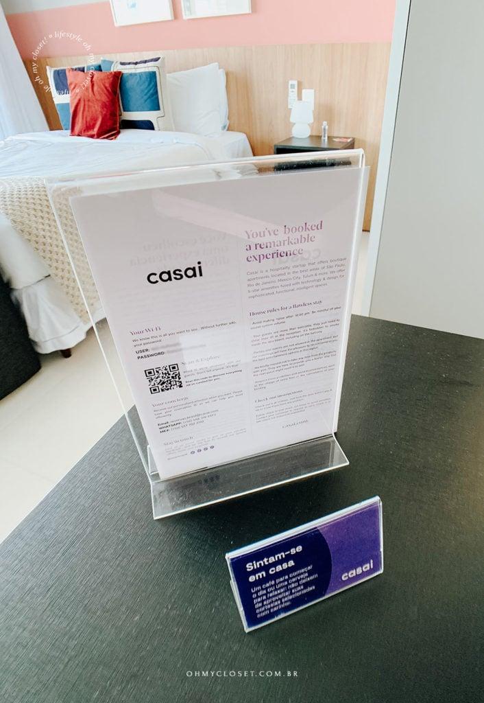 Cartão de boas vindas e informações Casai.